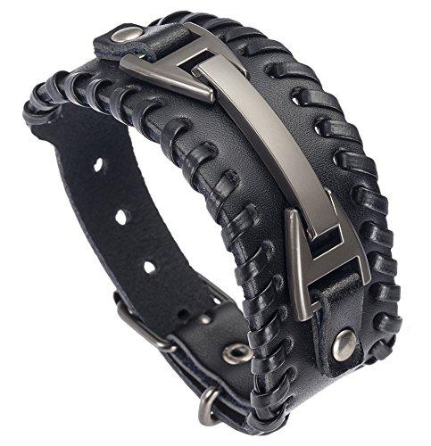 Hamoery Men Leather Bracelet Punk Braided Rope Alloy Bracelet Bangle Wristband(Black)