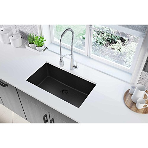 Elkay Quartz Classic ELGRU13322BK0 Black Single Bowl Undermount Sink