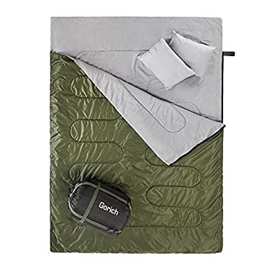 Gorich Double Sleeping Bag For Camping,Hiking, Backpacking,Queen Size XL! Cold Weather 2 Person Waterproof Sleeping Bag For Adults Or Teens. Truck, Tent, Or Sleeping Pad, Lightweight. With 2 Pillows.