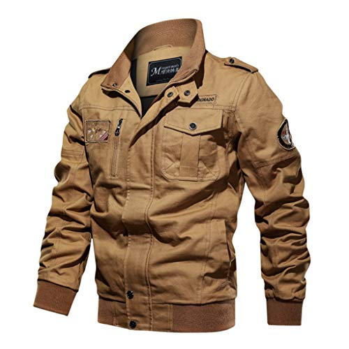 LIXIYU Herrenblouson beiläufige Militärfracht Jacke Windjacke Stehkragen Arbeitskleidung Jacke große lose Fliegerjacke, Yellow-XXL
