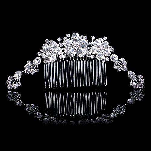 Olici MDRW-Bruid Bruiloft Prom Haarspelden Lange Een Volledige Diamant Drop Bloemenkam Haar Prachtige Pop Legering Diamant Kam