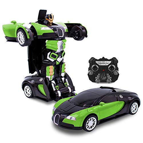Family Smiles Kids RC Toy Car Transforming Robot 2.4 GHz Remote Control One Button Transformation...