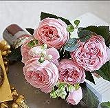Dodom 2018 Soie Rose Pivoine Artificielles Fleurs Belle Flores Bouquet pour la Fête De Mariage Décoration De Mariage Faux Fleurs A49B25, A49-2