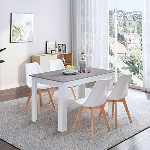 TUKAILAI Dining Table and 4 Chairs Set Retro and Modern Dining Set White PP Chairs with Wooden Dining Table 120cm