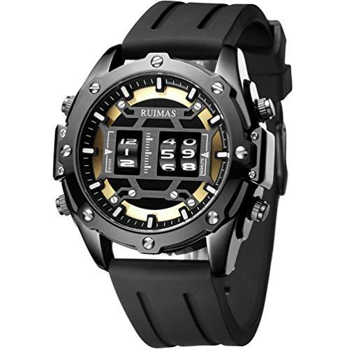 RUIMAS - Reloj de pulsera para hombre, cuarzo, militar, resistente al agua, esfera redonda negra con correa de silicona negra para hombres