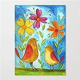 JRGGPO Flores y pájaros Abstractos 5D Kit de Pintura de Diamante Niños Adulto Regalo Mosaico de Diamantes decoración de la Pared del hogar(40x50cm Diamante Cuadrado)
