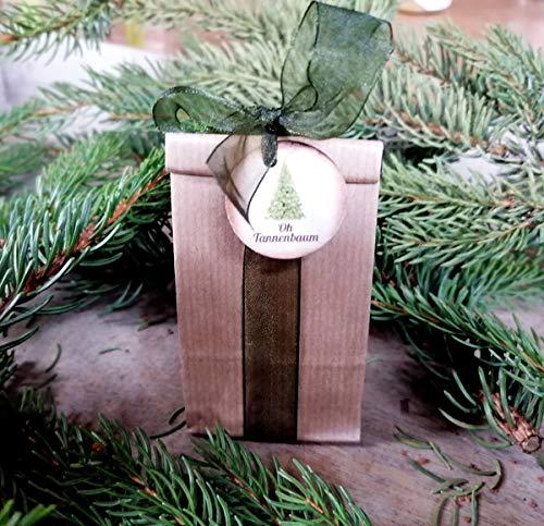 Die Seedball-Manufaktur Weihnachts-Seedball mit Tannenbaum-Saatgut, Natur mit grüner Schleife