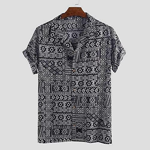 Auink Camisas Hawaianas de Verano, Solapa Informal Hawaiana con Botones, Manga Corta, patrón de geometría Simple, de Secado rápido, Transpirable, Estilo Vintage, Camisa Aloha para Hombres, Mujeres