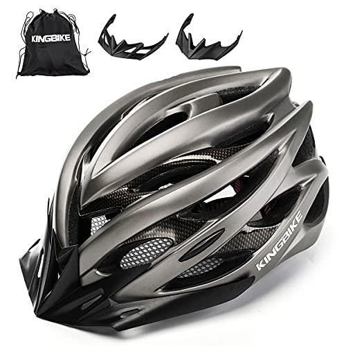 KING BIKE Fahrradhelm Helm Bike Fahrrad Radhelm mit LED Licht FüR Herren Damen Helmet Auf Die Helme Sportartikel Fahrradhelme GmbH RennräDer Mountain Schale Mountainbike MTB (Titan, M/L(54-59CM))