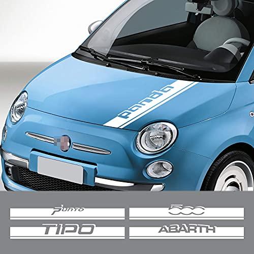 BENBENXIONG Car Styling Engine Bonnet Cover Trim Stickers Auto Hood Decoración Calcomanías Auto Accesorios para FIAT Punto 500 Panda Abarth Tipo para Abarth Glossy Grey
