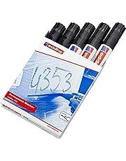EDDING 800 800 permanent marker - zwart - 5 stiften - beitelpunt 4-12 mm - voor brede markeringen - watervast, sneldrogend - wrijfvast - voor karton, kunststof, hout, metaal, glas