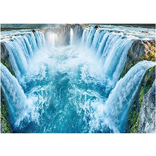 SPFOZ Haus Dekoration Kithen Wear-Resisting 3D Wandbild Wasserfall Boden Tapeten for Badezimmer-Wand-Aufkleber-entfernbare wasserdichte Wohnkultur Geschenke & jw (Color : Blau)