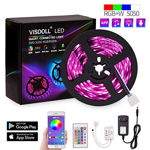 Preisvergleich Produktbild VISDOLL rgbw led strips 12v LED Streifen 5M WiFi steuerbar via App LED Strip RGB 5050SMD 150 Led Band IP65 Lichtband mit Fernbedienung [Energieklasse A+]