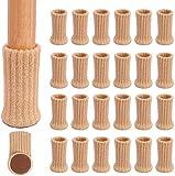 24 calcetines para muebles, protectores para patas de sillas, antideslizantes, para sillas, diámetro de 2,5 cm a 5 cm, Marrón claro