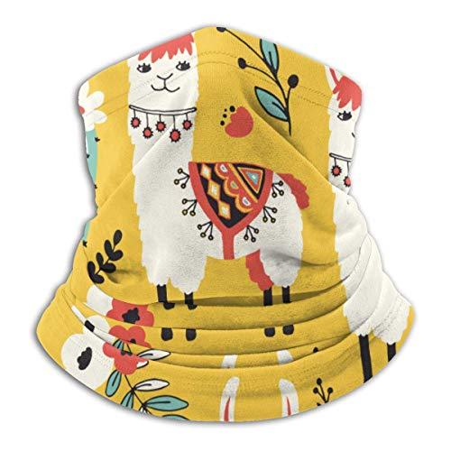 Magic Headbands,Preciosas Llamas Llowers Y Cacti Face Guard, Ligero Cuello Pasamontañas para Equitación Senderismo,26x30cm