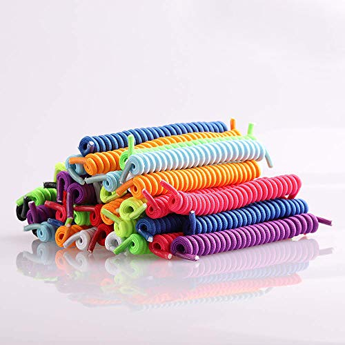 Coobbar 10 Pair Curly Elastic Shoelaces No Tie Trainer Kids Shoe Laces Colours for Childs and Adults Best in Sports Flat Shoelace