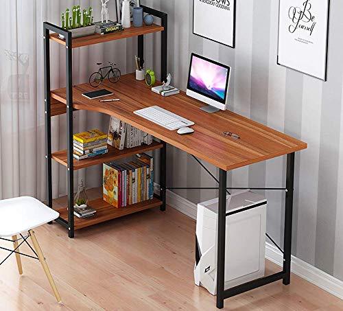 Mesas de ordenador,Escritorio de computadora con estanterías de 4 niveles, mesa de escritura de estilo moderno, escritorio de oficina en casa, escritorio compacto para juegos, estación de trabajo pa