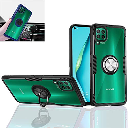 Huawei P40 Lite Case,Silicone Shockproof TPU PC,Transparent Protection Clear Cover,360° Rotating Metal Ring Kickstand,car Holder case,for Huawei P40 Lite/Huawei Nova 6 se (Black/Silver)
