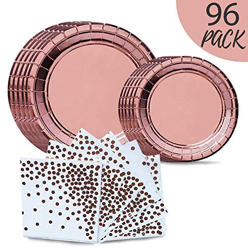 Onebttl 96 PCS Rose Gold Party Supplies -Disposable Paper Plates Dinnerware Set- 32 Dinner Plates, 32 Dessert Plates, 32 Napkins, Perfect for Wedding, Birthday, Graduations, Bridal Shower