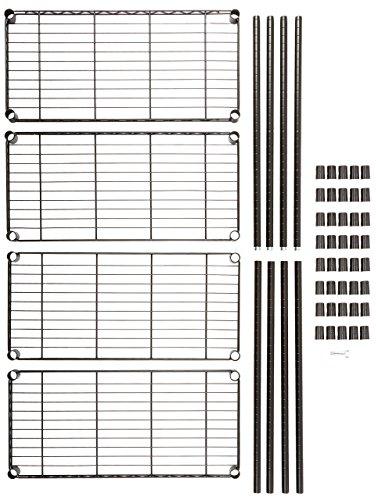 AmazonBasics 4-Shelf Adjustable, Heavy Duty Storage Shelving Unit (350 lbs loading capacity per shelf), Steel Organizer Wire Rack, Black (36L x 14W x 54H)
