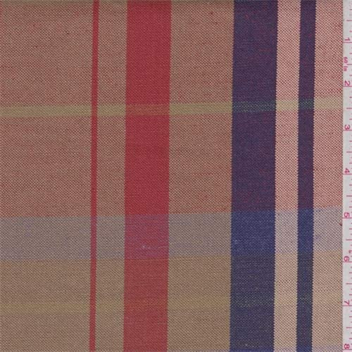Gold Red Violet Plaid Linen Fabric Gao by The Yard-by Over item handling ☆ Shop Large discharge sale