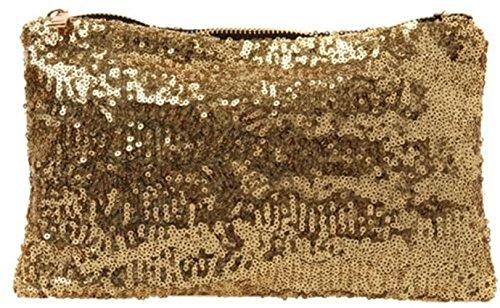 NOVAGO Pochette multifonctions - trousse à maquillage, pochette de soirée en paillette effet bling bling (dorée)