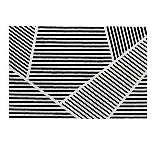 TangMengYun Nordkreativer Polypropylen-Teppich, Abstrakter einfacher Zebra-Teppich, Schwarzweiss-Streifen-Nachttisch-Teppich-Wohnzimmer-Wolldecke (Größe : 200 * 140CM)