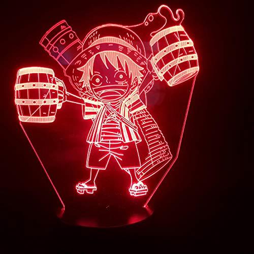 Preisvergleich Produktbild ZYQZYQ 3D Nachtlicht Illusion Lampe Karikatur-japanischer Manga,  der das Wecker-niedrige Atmosphären-batteriebetriebene geführte trinkt