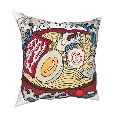 Copri cuscino federa 45x45CM tradizionale giapponese ramen e onda per ristorante stampa su carta da parati decorazione per decorazioni per la casa ufficio divano vacanza bar caffè matrimonio auto