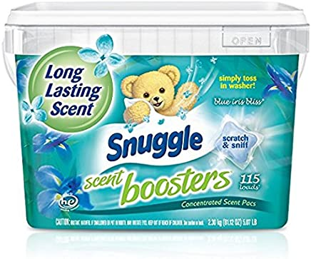 Snuggle Laundry Scent Boosters Concentrated Scent Pacs, Blue Iris Bliss, Tub, 115 Count