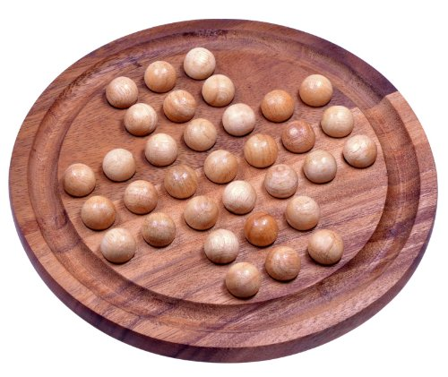 Logoplay Holzspiele Solitär Gr. XL rund mit Kugeln - 26 cm Durchmesser - Solitaire - Denkspiel - Knobelspiel - Geduldspiel - Logikspiel aus Samena-Holz