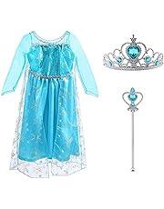 Vicloon - Disfraz de Princesa Elsa - Reino de Hielo - Vestido de Cosplay de Carnaval, Halloween y la Fiesta de Cumpleaños