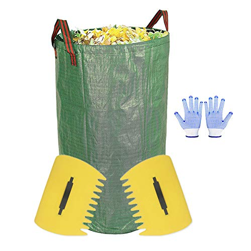 Review Of JzNova Garden Waste Bag with 2 Leaf Scoops and 2 Antiskid Gloves - 32 Gallons Reusable Col...