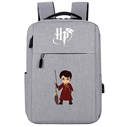Hogwarts Magic Rucksack , Harry College Laptop Rucksack , Potter Travel Leisure Bag Besen grau