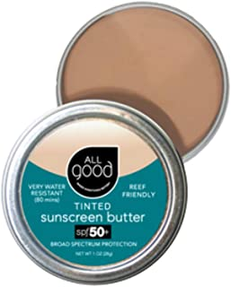 All Good Organic Tinted Sunscreen Butter - Zinc Oxide - Coral Reef Safe - Water Resistant - UVA/UVB Broad Spectrum - SPF 50+ (1 oz)