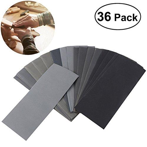 UEETEK Schleifpapier Set, 36Pcs 400 bis 3000 Trocken/Nassgitter Schleifpapier Sortiment für Automobilschleifen Schleifen/Holzbearbeitung/Holzdrehen/Veredeln,9.3 * 23CM (W * L)