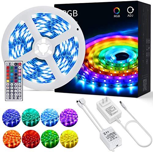 OUSFOT LED Strip 5M LED Streifen RGB SMD 5050 mit Fernbedienung Farbwechsel Selbstklebend (5m)