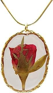 Rosso Rosa Vero Fiore Romantico Amore Resina Ovale Ramoscello Pendente Placcato Oro Serpente Catena Collane