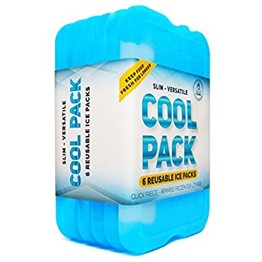 Healthy Packers NEW Cool Pack, Slim Long-Lasting Ice Packs - Great for Coolers or Lunch Box (6-Pack)