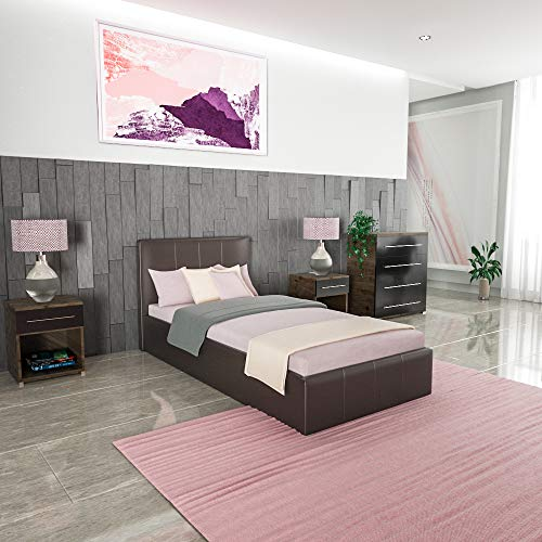 Vida Designs Lisbon Ottoman Einzelbett, 90 cm breit, Bettgestell Gepolstert PU Kunstleder Kopfteil Flaches Fußteil Schlafzimmermöbel, Braun