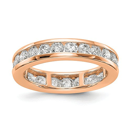 Fede nuziale Eternity in oro rosa 14 carati lucido 2 ctw Channel set diamante – Taglia 5