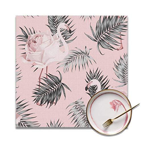 Aeykis Flamingo Rose Tropical Pattern Vector Image Hitzebeständige Tischset Reinigung 12 '' X 12 '' (4 Stück Tischset)