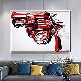 DCLZYF Cuadros de Pared de Pistola de Pintura Abstracta Moderna para Sala de Estar Lienzos de Arte Pop y Carteles Decoración para el hogar de la Sala de estar-70x100cm (sin Marco)