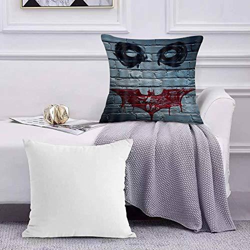 Ccstyle Funda de Cojín Funda de Almohada del Hogar Cara Decorativa de Payaso de Terror en la Pared como The Joker en Batman,Square Soft and Cozy Pillow Covers,