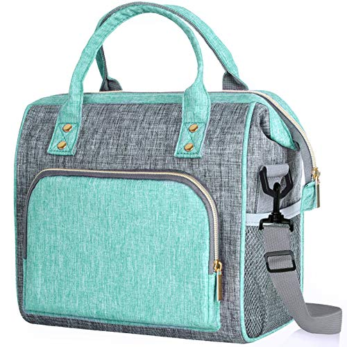 Lunch Bags for Women Insulated Lunch Bag Reusable Lunch Bag Leakproof Large Lunch Bag with Adjustable Shoulder Strap Multi-Pocket Lunch Bag for Work Office Picnic Outdoor