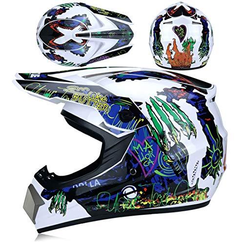 XIUJC Motocross Motorcycle Helmet with Glasses Gloves Mask(4Pcs),Downhill Fullface Bicycle ATV MTB Cross Helmet Mountain Bike Motorcycles Off-Road Helmet for Adult Women Men