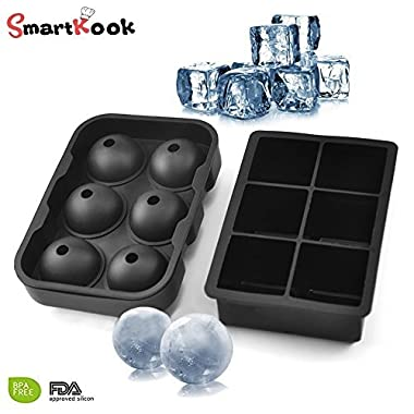 Silicone Ice Cube Trays Combo (Set of 2), Sphere Ice Ball Maker with Lid & Large Square Molds, Reusable & BPA Free