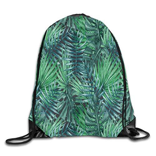63251vdgxdg Sports Ness Bag Travel Bag String Pull Bag Drawstring Backpack Bag Lush Palm Tree Leaves Rucksack For Gym Travel Gym Bag
