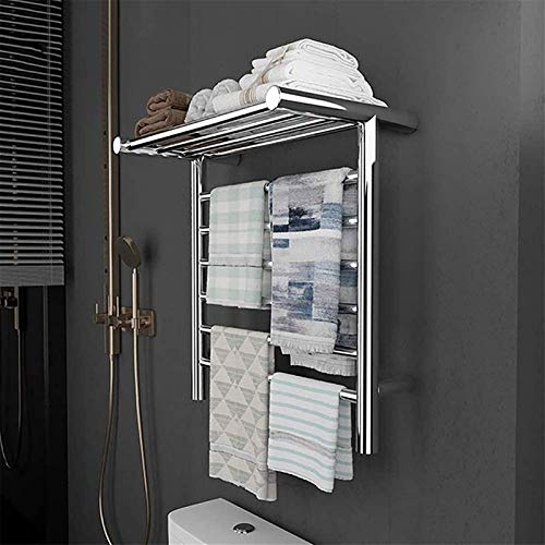 Toallero calefactado montado en la pared, Rieles de riel de toallas con calefacción 6 barra de toalla montada en la pared con estante superior, rack de toallas con calefacción eléctrica de 105W de efi