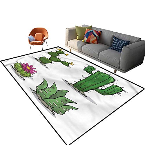 Indoor Room Cactus Area Rugs,6'x 9',Mexican Flora Pattern Floor Rectangle Rug with Non Slip Backing for Entryway Living Room Bedroom Kids Nursery Sofa Home Decor